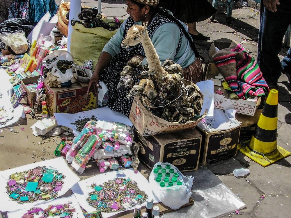 Llama foetuses in Potosi Market