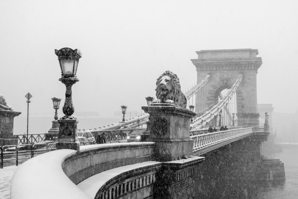 Snowy Chain Bridge in Budapest; photo courtesy of RobinTPhoto